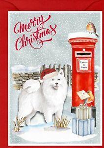 "Samoyed Dog A6 (4""x 6"") Christmas Card (Blank inside) - designed by Starprint"