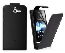 SONY (ST25i) XPERIA U Leather Flip Case Coque Cover Black