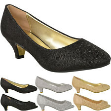 Womens Ladies Low Kitten HEELS Court Shoes Open Toe Wedding Diamante Party Size