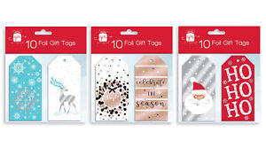 Pack 10 Christmas Xmas Foil Gift Tags & Thread Rose Gold Reindeer Snowflake
