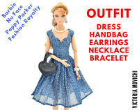 Outfit: Blue Dress Handbag Earrings Necklace Bracelet for Fashion Royalty dolls