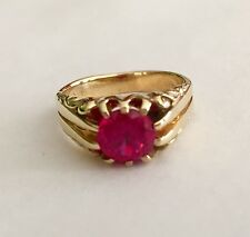 ANTIQUE / VINTAGE 14K YELLOW GOLD SOLITAIRE PINK RUBY RING - 6.4 GR Size 7.5