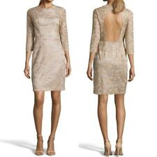 NEW SUE WONG Gold Floral EMBROIDERED LACE Cutout Back SHEATH Cocktail DRESS 6