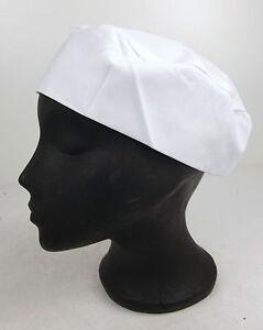 Unisex White Professional Chef Chefs Caterer Cooks Elasticated Skull Cap Hat D2