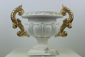 Barock Vase Schale Weiß Gold