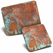 Mouse Mat & Coaster Set - Rusty Aged Copper  #3024
