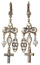 £50 Baroque Gothic Gold White Pearl Drop Earrings Swarovski Elements Crystal