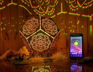"Interior Smart LED Lamp ""Mandala"" psychedelic wooden sacreed geometry night ligh"