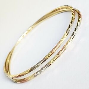 large Big 14k yellow white rose gold hoop earrings 2 inches long