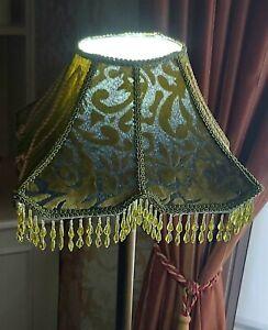 Vintage Lampshade Green Velvet Devore Glass Bead Fringed Pagoda