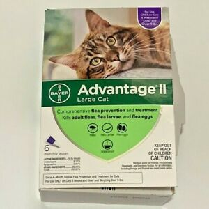 Bayer Advantage II Flea Prevention Large Cats over 9 lbs 6 doses NEW Open Box