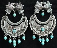 Mexican  0.925 Sterling Silver Earrings Turquoise and Birds Frida Kahlo Style