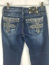 Miss Me Damen 27 Blau Kurvige Stiefel Jeans Mid-Rise Bestickt Nieten Verziert