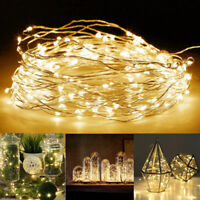 50/100LED 10M String Battery Operated Copper String Wire Fairy Lights Xmas Party