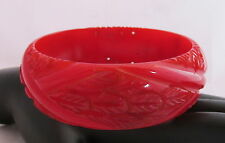 Vintage Bakelite Bangle Bracelet Heavy Carved Dark Red Leaves Xs Pierced Holes