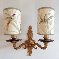 Augustine Hummingbirds - Handmade, Candle Clip Half Lampshade for Wall Lights