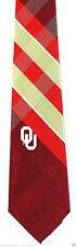 Oklahoma Sooners Mens Necktie College University Logo Red Plaid Neck Tie New
