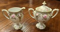 RS Prussia Creamer and Lidded Sugar Bowl White Floral Green Foliage; Red RS Mark