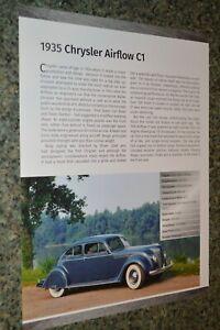 ★★1935 CHRYSLER AIRFLOW C1 INFO SPEC SHEET PHOTO FEATURE PRINT 35★★B