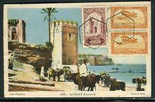 Maroc - Affranchissement de Sidi Bou Knadel sur carte postale en 1930