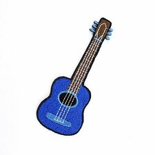 Embroidered Iron On Patch Blue Guitar Music Cute Decor Fabric Sew Craft DIY #01