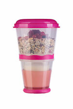 Cereal Mug To Go With Milk Cooling Compartment Folding Spoon Pink Cereal 2 Go Snack Bar Yoghurt