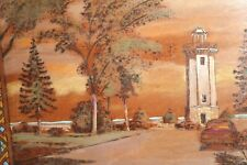 Large etched and painted on board Light House Landscape Painting signed B Ozois?