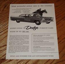 Original 1957 Dodge Pursuit Cars Features Specifications Sales Brochure Sheet 57