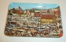 Vintage Tip Tray Norway City of Bergen Plastic Mittet Novelty Souvenir Flag Boat