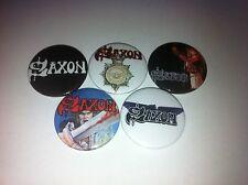 5 Saxon Button badges 25mm Wheels of Steel Heavy Metal Thunder Dio UK Rock