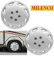 "Milenco Caravan Wheel Trims / Hub Caps Pair 440S 14"" Silver Explorer Style"