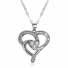 925 Sterling Silver I Love You To The Moon and Back Heart Pendant Necklace Gift