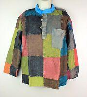 Stonewashed Patchwork Cotton Festival Collarless Boho Shirt Kurta FAIRTRADE PWS1