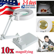 Magnifying Crafts Glass Desk Lamp 10X Magnifier Enlarge With LED Lights Folded