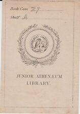 Ex-libris (Bookplate) Junior Athenaeum Library - XIXème siècle.