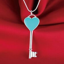 N5 925 Silver Plated Blue Enamel Heart Key Pendant Necklace