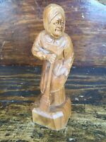 "Vtg Wood Carving Caron Quebec Canada 6"" Old Woman Hand Carved Folk Outsider Art"
