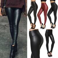Womens Leather Pants PU Stretchy Hip Push Up Skinny Tight High Waist Leggings AM