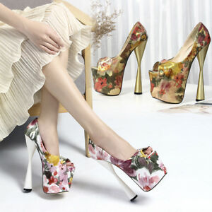 Vintage Peep Toe Drag Queen Flowery Mens Heels Platform Pink Crossdresser Shoes