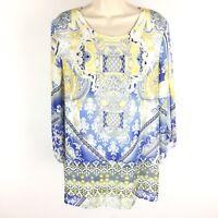 Jm Collection Cold Shoulder Tunic Women's Top Shirt Blouse Size Medium Blue