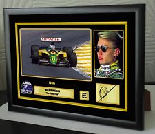 "Mika Hakkinen F1 Lotus Framed Canvas Print Signed ""Great Gift/Souvenir"""