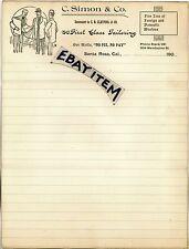 1900 Letterhead C Simon SANTA ROSA CALIFORNIA tailor clothing CLAYPOOL Mendocino