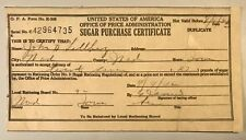 Vintage 1942 WWII Sugar Purchase Certificate Issued by OPA Rationing Board Iowa