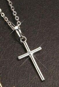 Silber Herren Damen Edelstahl Halskette Kreuz Anhänger