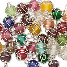 50 Silver Plated Spiral Wire Wrapped Mixed Glass Beads 7 - 8MM