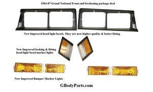 84-87 GN Grand National Headlight Bezel Bumper Turn Light Side Marker Lamp SET