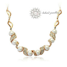 18K RoseGold Plated Clear Swarovski Crystal Pearl Necklace/Wedding/Bridal/RN013G