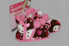 HELLO KITTY Pink Brown Pom Pom Furry Plush Slipper Booties Childs 11/12 NEW