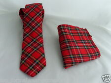 "(B) Tartan royal-red-red Uomo Skinny Cravatta e Hankie set-tie-2.5 "" = Larghezza 6cm"