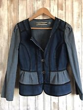 Anthropologie Daughters of the Liberation Denim Jean Boho Peplum Jacket 4 RARE!